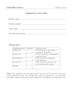 Assignment 5 cover sheet Student name: Student number: Tutor name: