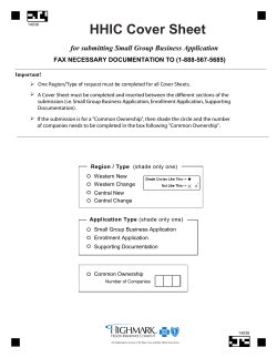 HHIC Cover Sheet for submitting Small Group Business Application