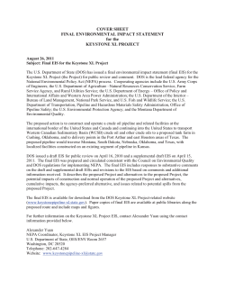 COVER SHEET FINAL ENVIRONMENTAL IMPACT STATEMENT for the KEYSTONE XL PROJECT