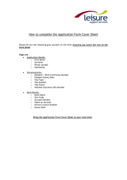 How to complete the Application Form Cover Sheet