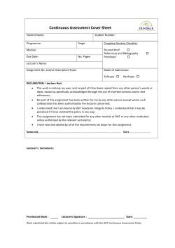 Continuous Assessment Cover Sheet