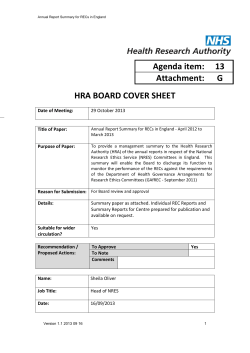 Agenda item:  13 Attachment: G HRA BOARD COVER SHEET