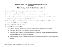 Math Pacing Guide 2012-2013 Cover Sheet
