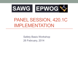 SAWG PANEL SESSION, 420.1C IMPLEMENTATION Safety Basis Workshop