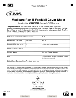 Medicare Part B Fax/Mail Cover Sheet UNSOLICITED