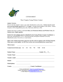 COVER SHEET West Virginia Young Writers Contest DIRECTIONS: