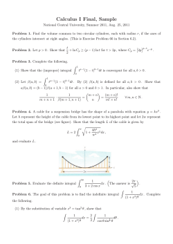 Calculus I Final, Sample
