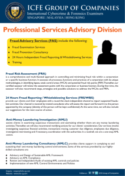 Professional Services Advisory Division ICFE Group of Companies Fraud Advisory Services (FAS)