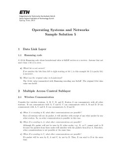 Operating Systems and Networks Sample Solution 5 1 Data Link Layer