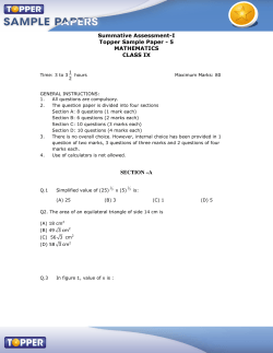 Summative Assessment-I Topper Sample Paper - 5 MATHEMATICS