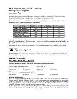 BRAC UNIVERSITY (Sample Questions) Undergraduate Programs Admission Test
