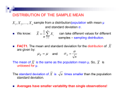 DISTRIBUTION OF THE SAMPLE MEAN , X …