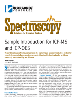 Sample Introduction for ICP-MS and ICP-OES