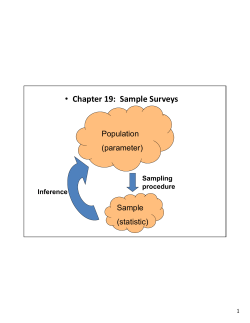 • Chapter 19:  Sample Surveys Population (parameter)