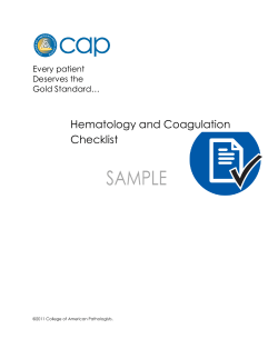 Hematology and Coagulation Checklist  Every patient