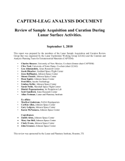 CAPTEM-LEAG ANALYSIS DOCUMENT Review of Sample Acquisition and Curation During