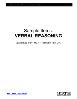 Sample Items: VERBAL REASONING  MCAT Practice Test 3R