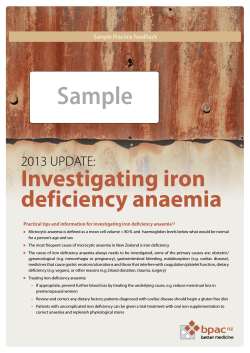 Sample Investigating iron deficiency anaemia 2013 UPDATE: