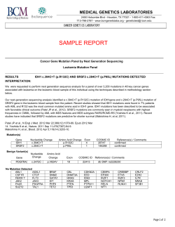 SAMPLE REPORT  MEDICAL GENETICS LABORATORIES CANCER GENETICS LABORATORY