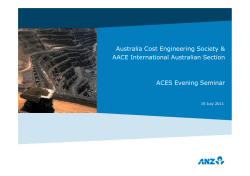 Australia Cost Engineering Society & AACE International Australian Section ACES Evening Seminar