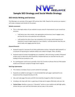Sample SEO Strategy and Social Media Strategy