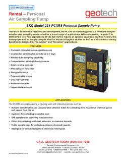 Rental – Personal Air Sampling Pump SKC Model 224-PCXR8 Personal Sample Pump