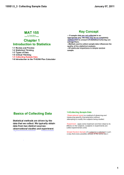 MAT 155 Chapter 1 Key Concept 155S1.5_3  Collecting Sample Data