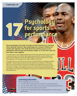 17 Psychology for sports performance