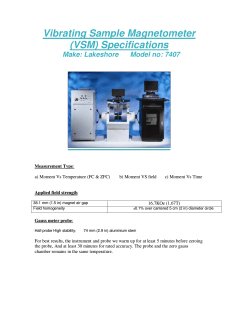 Vibrating Sample Magnetometer (VSM) Specifications