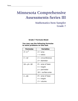 Minnesota Comprehensive Assessments-Series III Mathematics Item Sampler Grade 7