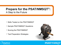 • Skills Tested on the PSAT/NMSQT • Sample PSAT/NMSQT Questions