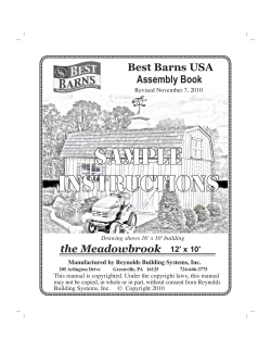 SAMPLE INSTRUCTIONS the Meadowbrook Best Barns USA