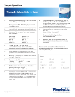 Wonderlic Scholastic Level Exam Sample Questions
