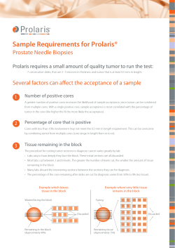 Sample Requirements for Prolaris® Prostate Needle Biopsies