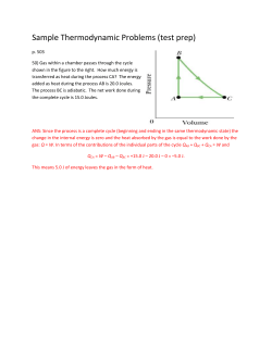 Sample Thermodynamic Problems (test prep)