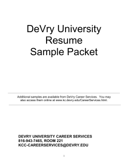 DeVry University Resume Sample Packet