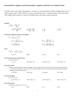 Intermediate Algebra and Intermediate Algebra with Review Sample Final