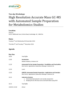 High Resolution Accurate Mass GC-MS with Automated Sample Preparation for Metabolomics Studies