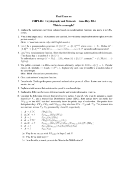 This is a sample! Final Exam on CMPT-404 Cryptography and Protocols