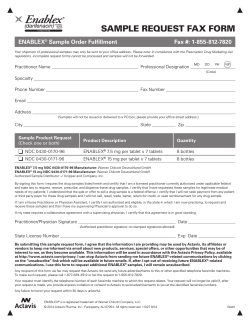 SAMPLE REQUEST FAX FORM ENABLEX Sample Order Fulfillment Fax #: 1-855-812-7820
