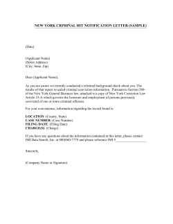 NEW YORK CRIMINAL HIT NOTIFICATION LETTER (SAMPLE)