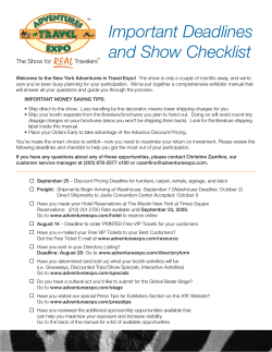 Important Deadlines and Show Checklist