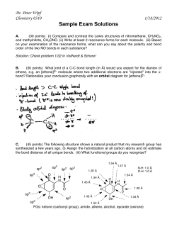 Sample Exam Solutions Dr. Peter Wipf Chemistry 0310