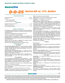 0-0-25 Nutra-KS w/ 17% Sulfur Nutra-Flo Liquid Fertilizer Product Label