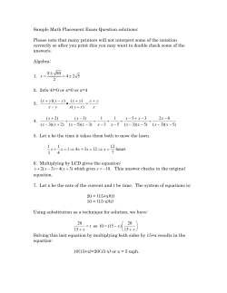 Sample Math Placement Exam Question solutions: