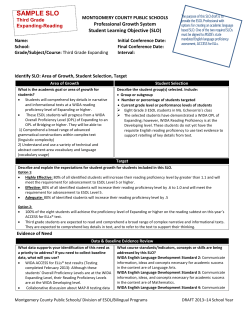 SAMPLE SLO Professional Growth System MONTGOMERY COUNTY PUBLIC SCHOOLS Third Grade