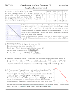 MAT 272 Calculus and Analytic Geometry III 10/11/2011 Sample solutions for test 2