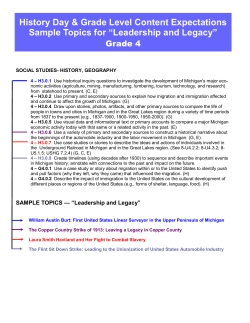 History Day & Grade Level Content Expectations Grade 4