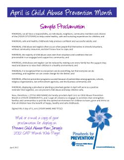 April is Child Abuse Prevention Month Sample Proclamation