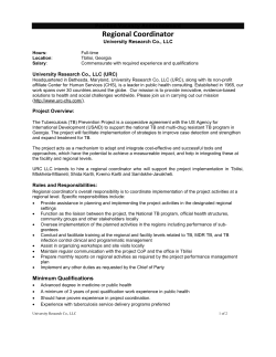 Regional Coordinator Position Vacancy Announcement University Research Co., LLC